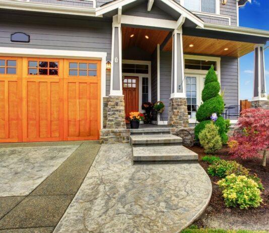 front of home with new garage door