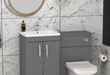 grey vanity unit with sink
