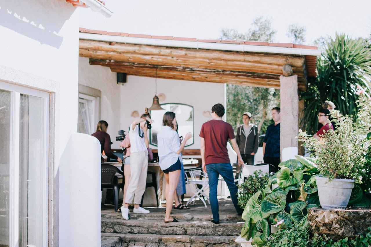 gathering in the patio